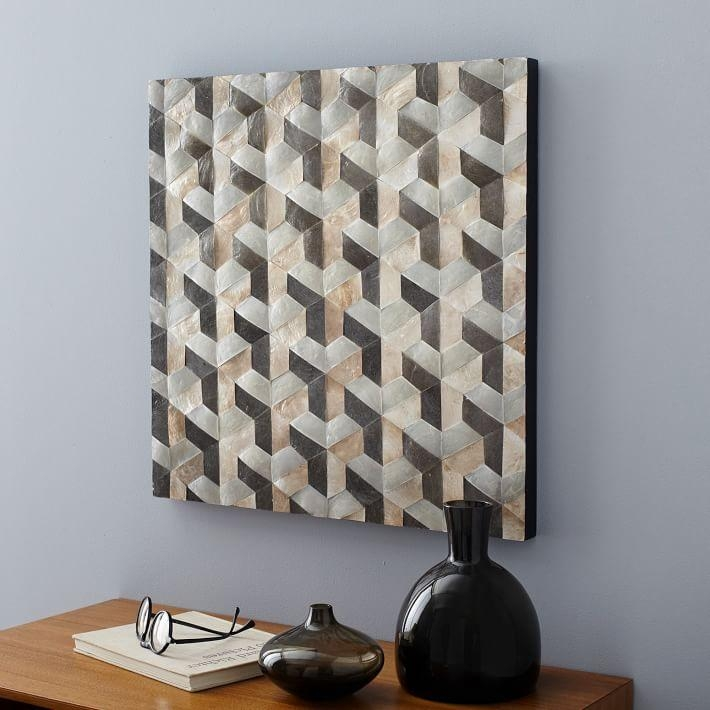 Capiz Wall Art – Geo Square Panel | West Elm Within Capiz Wall Art (Image 8 of 20)