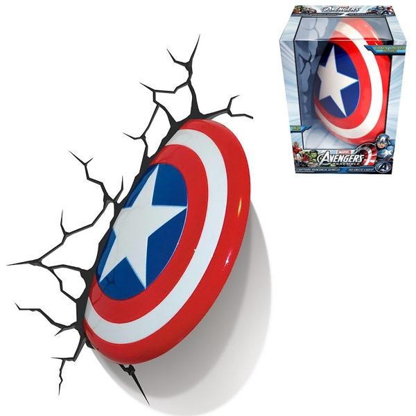 Captain America 3D Wall Art Nightlight In 3D Wall Art Nightlight (Image 8 of 20)