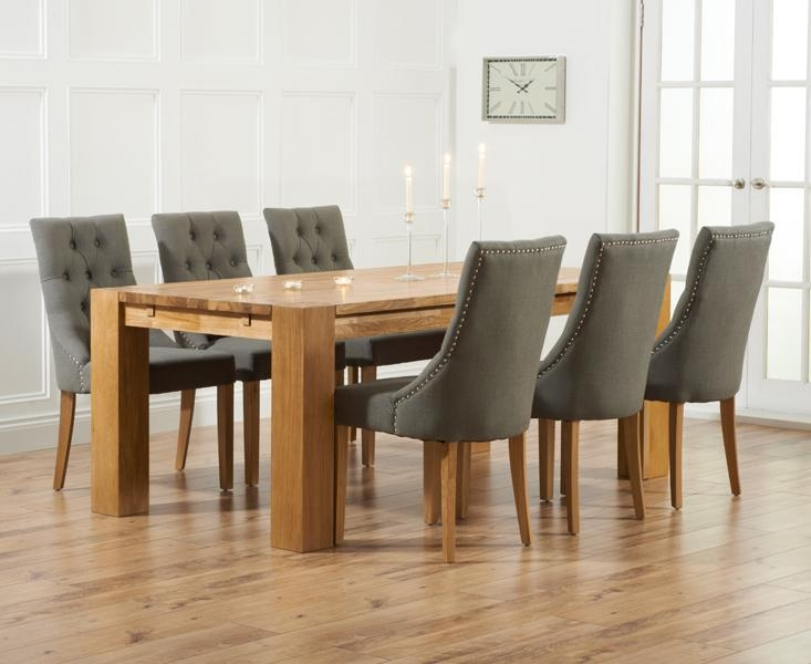 Captivating Fabric Dining Chair With Dining Room Grey Fabric In Most Popular Oak Fabric Dining Chairs (Image 6 of 20)
