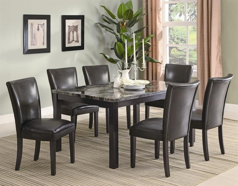 Carter 7 Piece Faux Marble Dining Set In Deep Cappuccino Finish For 2017 Marble Dining Chairs (Image 4 of 20)
