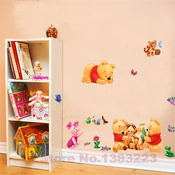 Cartoon Animals Pooh Diy Vinyl Wall Stickers For Kids Rooms Boys Intended For Winnie The Pooh Wall Decor (Image 4 of 20)