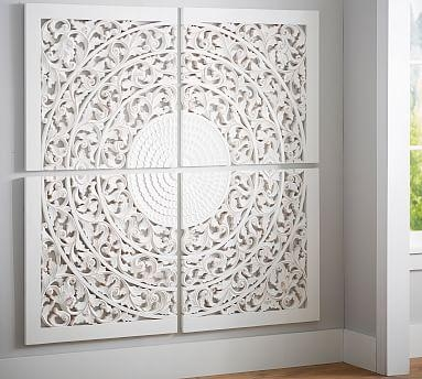 Carved Medallion Wall Art Panels – Set Of 4   Pottery Barn For Metal Medallion Wall Art (View 20 of 20)