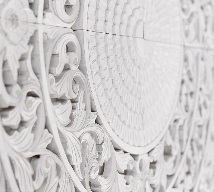Carved Medallion Wall Art Panels – Set Of 4 | Pottery Barn Pertaining To White Medallion Wall Art (Image 4 of 20)