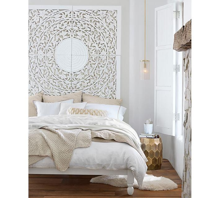 Carved Medallion Wall Art Panels – Set Of 4 | Pottery Barn Within White Medallion Wall Art (Image 6 of 20)
