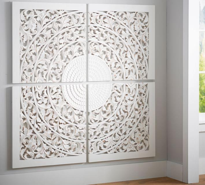 Carved Medallion Wall Art Panels – Set Of 4 | Pottery Barn Within White Medallion Wall Art (Image 5 of 20)