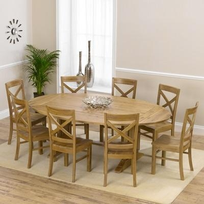 Carver Oak Oval Extending Dining Table With 8 Carver Chairs Pertaining To Most Recent Oval Extending Dining Tables And Chairs (View 3 of 20)