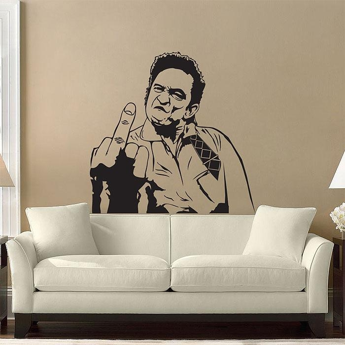 Cash 's Middle Finger Vinyl Wall Art Decal With Regard To Johnny Cash Wall Art (Image 4 of 20)