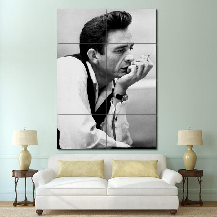 Cash Smoking Block Giant Wall Art Poster Throughout Johnny Cash Wall Art (Image 5 of 20)