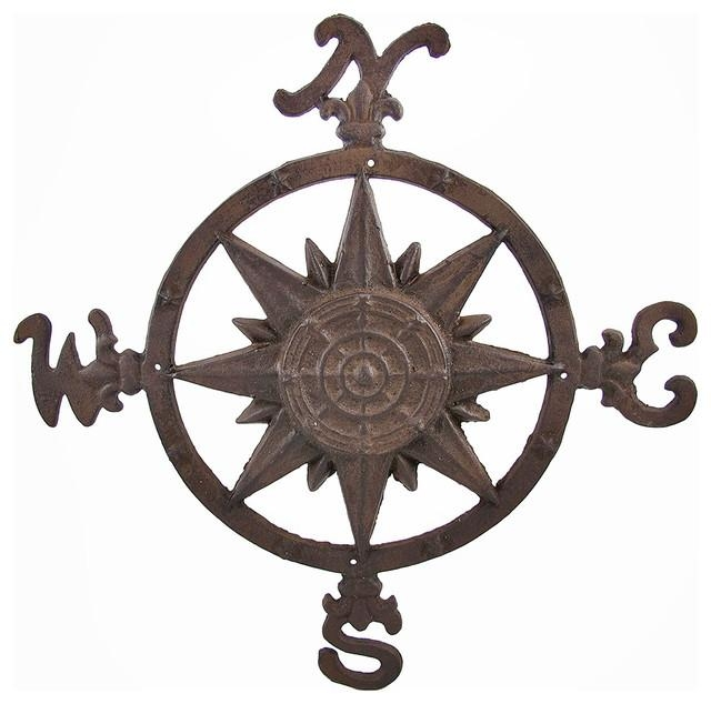 Cast Iron Compass Rose Wall Accent Indoor/outdoor Use Regarding Metal Wall Art Outdoor Use (Image 13 of 20)