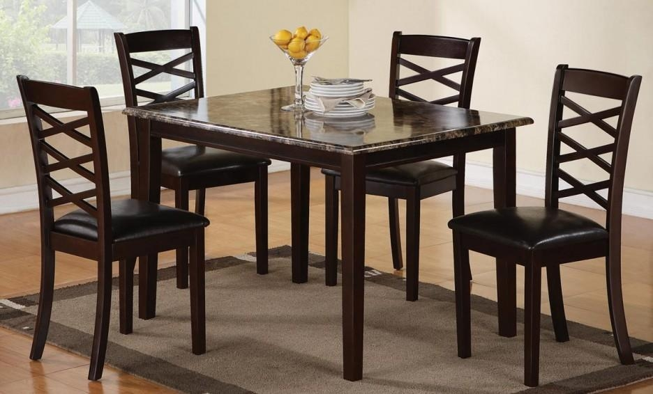Casual Dining Room Decor With 5 Pieces Cheap Granite Top Dinette Pertaining To Newest Cheap Dining Room Chairs (View 6 of 20)