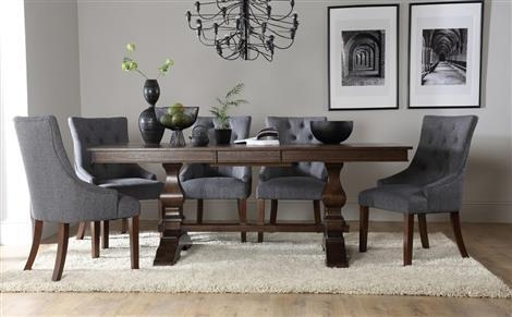 Cavendish Dark Wood Extending Dining Table With 8 Duke Slate In Most Current Dark Wood Extending Dining Tables (Image 3 of 20)
