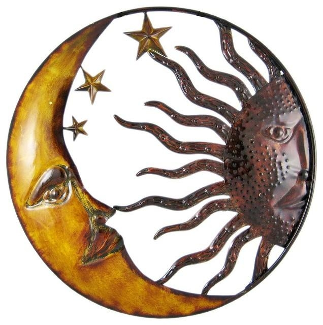 Celestial Hand Painted Sun Moon Metal Art Wall Hanging For Sun And Moon Metal Wall Art (View 1 of 20)