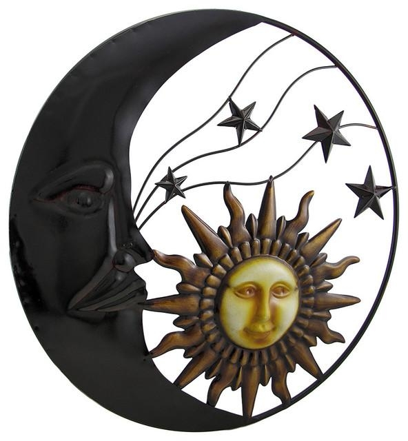 Celestial Metal Moon Sun And Stars Wall Art Hanging – Traditional Within Sun And Moon Metal Wall Art (View 7 of 20)