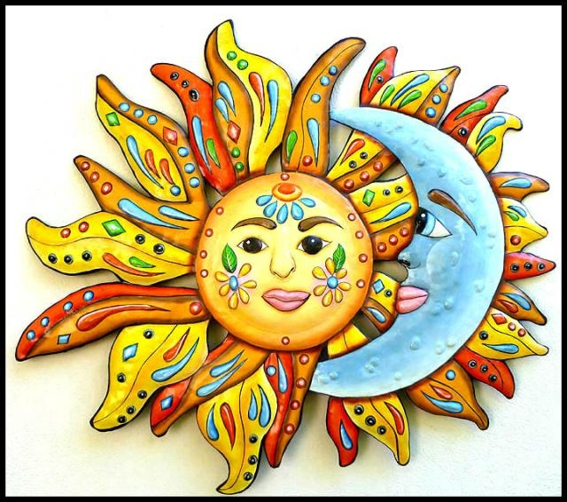 Celestial Sun And Moon Designs In Hand Painted Metal – Metal Wall Throughout Caribbean Metal Wall Art (View 18 of 20)