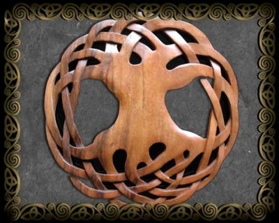 Celtic Art Wood Carvingsjen Delyth Celtic Tree Of Life, Hounds In Tree Of Life Wood Carving Wall Art (Image 5 of 20)