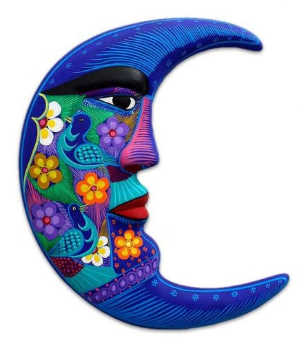Ceramic Wall Mask Mexican Folk Art Handmade 'azure Moon' Novica With Mexican Ceramic Wall Art (Image 7 of 20)