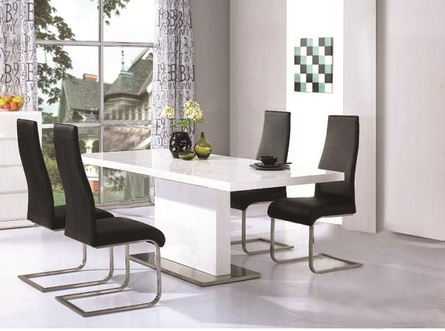Chaffee High Gloss Dining Table Leather Steel Chairs Throughout Most Recent High Gloss Dining Furniture (View 6 of 20)