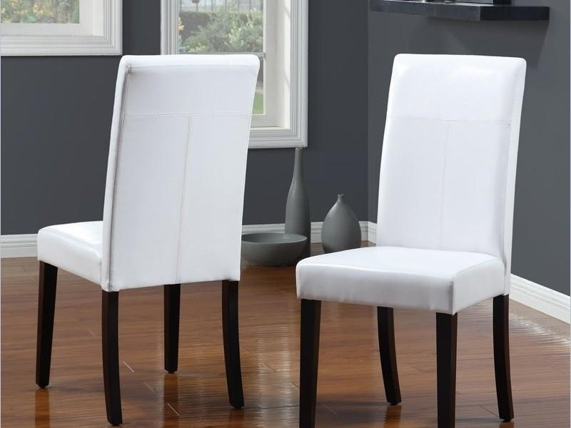 Chairs: Astounding White Leather Dining Chairs Top Grain Leather With Regard To 2017 White Leather Dining Room Chairs (View 2 of 20)
