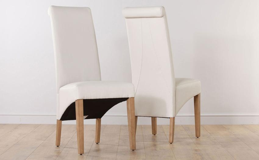 Chairs: Astounding White Leather Dining Chairs Top Grain Leather With Regard To Cream Leather Dining Chairs (Image 4 of 20)