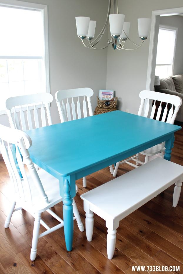 Chalky Finish Paint Dining Room Table Makeover – Inspiration Made For Newest Painted Dining Tables (Image 11 of 20)