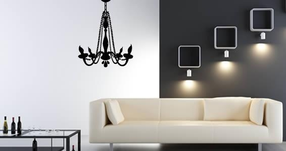 Chandelier Vinyl Wall Art | Dezign With A Z With Metal Chandelier Wall Art (View 19 of 20)