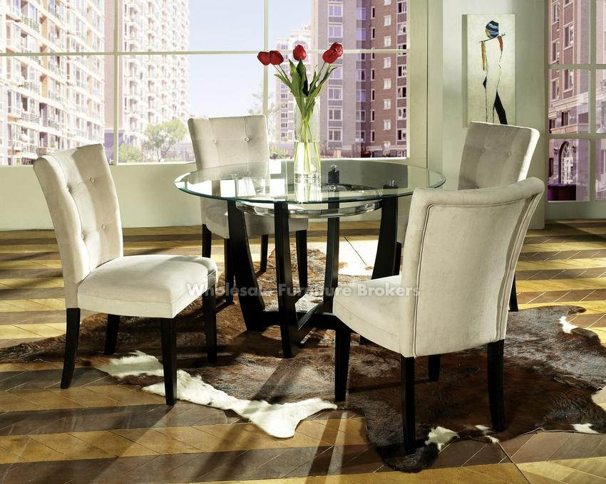 Cheap Glass Table Dining Set With Round Glass Dining Table And Within Glass Dining Tables Sets (Image 4 of 20)