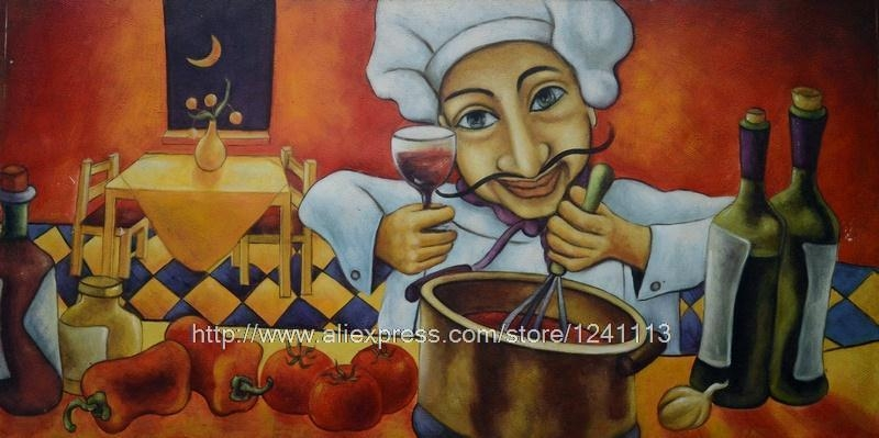 Chef Cook Portrait Canvas Wall Art Set Room Painting Designs For Italian Chef Wall Art (Image 11 of 20)