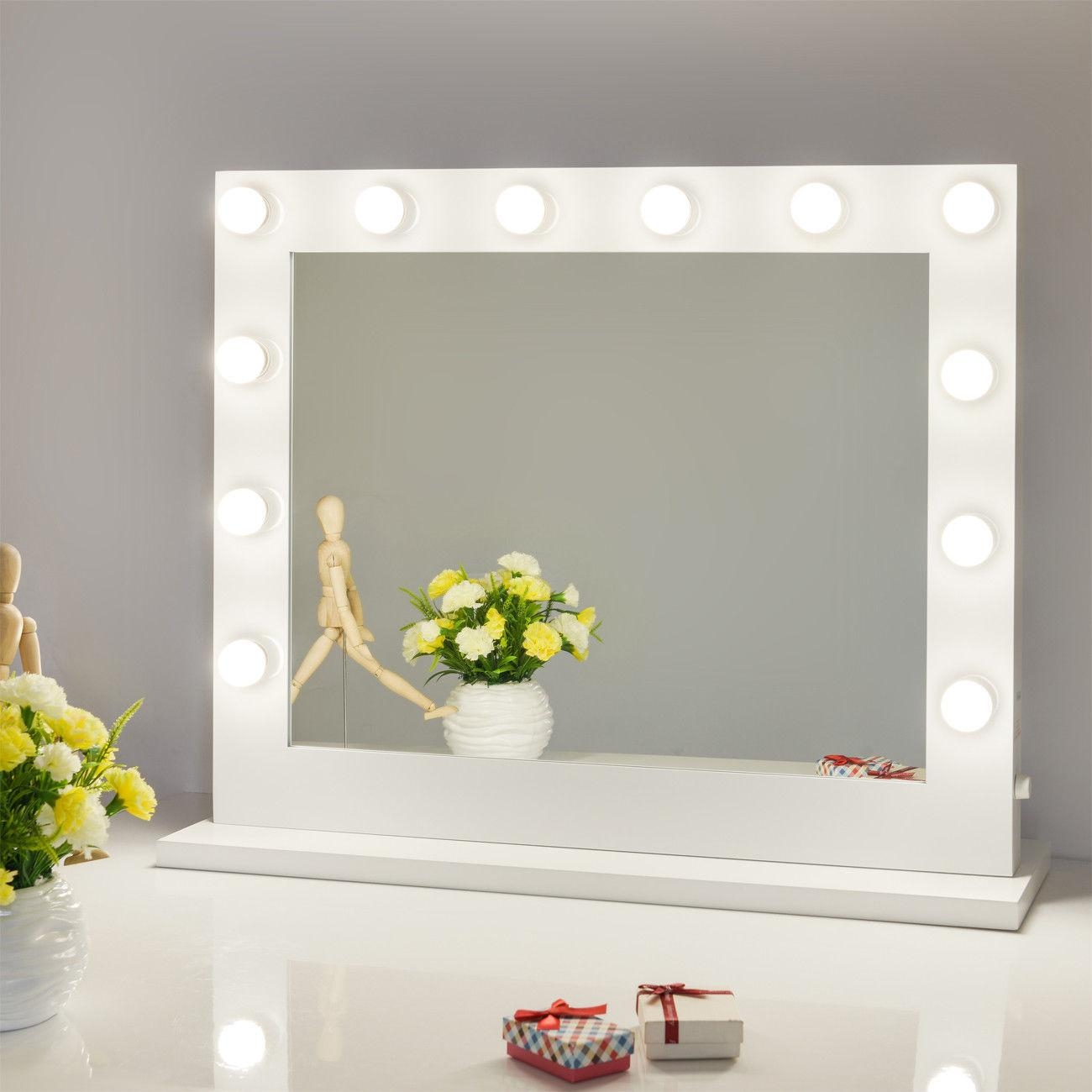 Chende White Hollywood Lighted Makeup Mirror | Ebay Pertaining To Lit Makeup Mirrors (Image 11 of 20)
