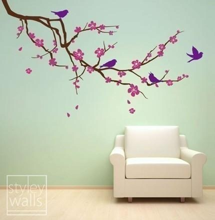 Cherry Blossom Branch And Birds Large Vinyl Wall Decal Sticker Pertaining To Cherry Blossom Vinyl Wall Art (Image 7 of 20)