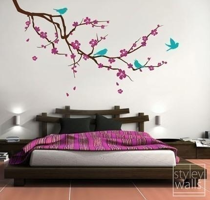 Cherry Blossom Branch And Birds Vinyl Wall Decal Sticker Cherry Within Cherry Blossom Vinyl Wall Art (Image 8 of 20)