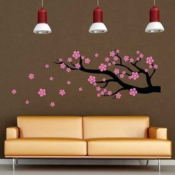 Cherry Blossom Branch Vinyl Wall Art Decal Nursery Decor With Cherry Blossom Vinyl Wall Art (Image 9 of 20)