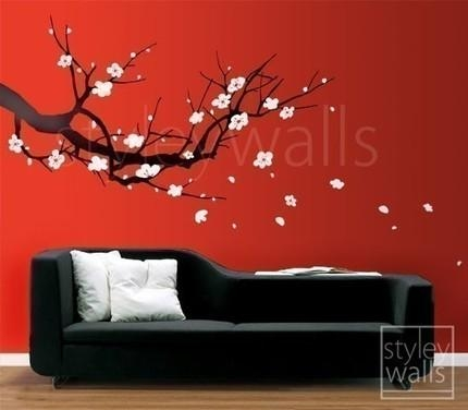 Cherry Blossom Sakura Tree – Vinyl Wall Decal Sticker Intended For Cherry Blossom Vinyl Wall Art (Image 10 of 20)