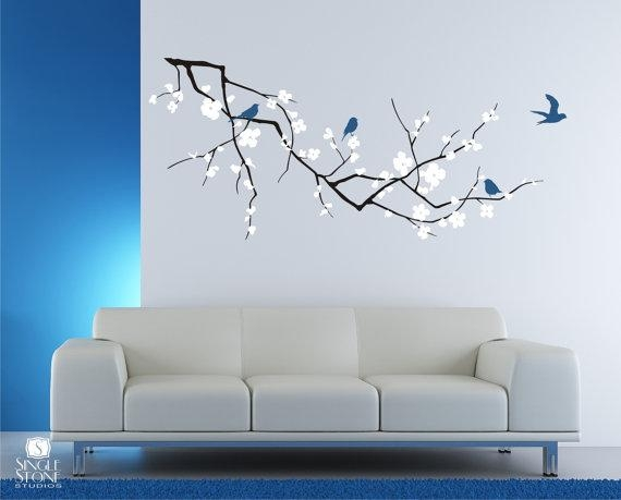 Cherry Blossom Tree Branch Wall Decal With Birds Vinyl Wall Inside Cherry Blossom Vinyl Wall Art (Image 11 of 20)