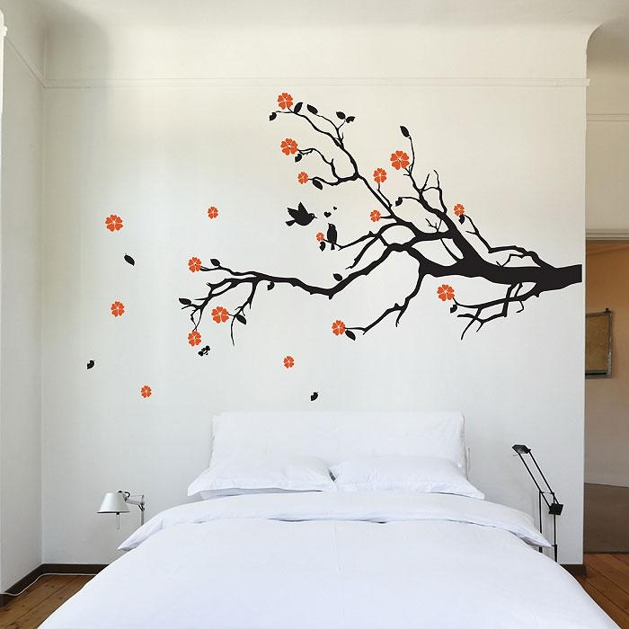 Cherry Blossom Tree Branch With Birds Vinyl Wall Art Decal Pertaining To Cherry Blossom Vinyl Wall Art (Image 12 of 20)