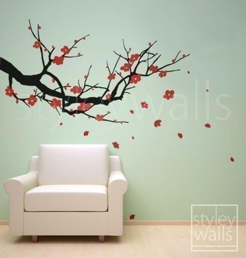 Cherry Blossom Wall Decals 2017 – Grasscloth Wallpaper Inside Cherry Blossom Vinyl Wall Art (Image 13 of 20)