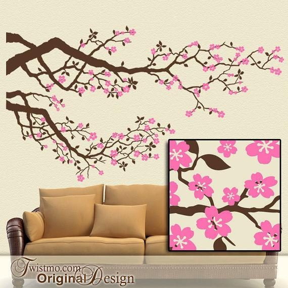 Cherry Blossoms Vinyl Wall Decal: Large Tree Branches Set With With Regard To Cherry Blossom Vinyl Wall Art (Image 14 of 20)