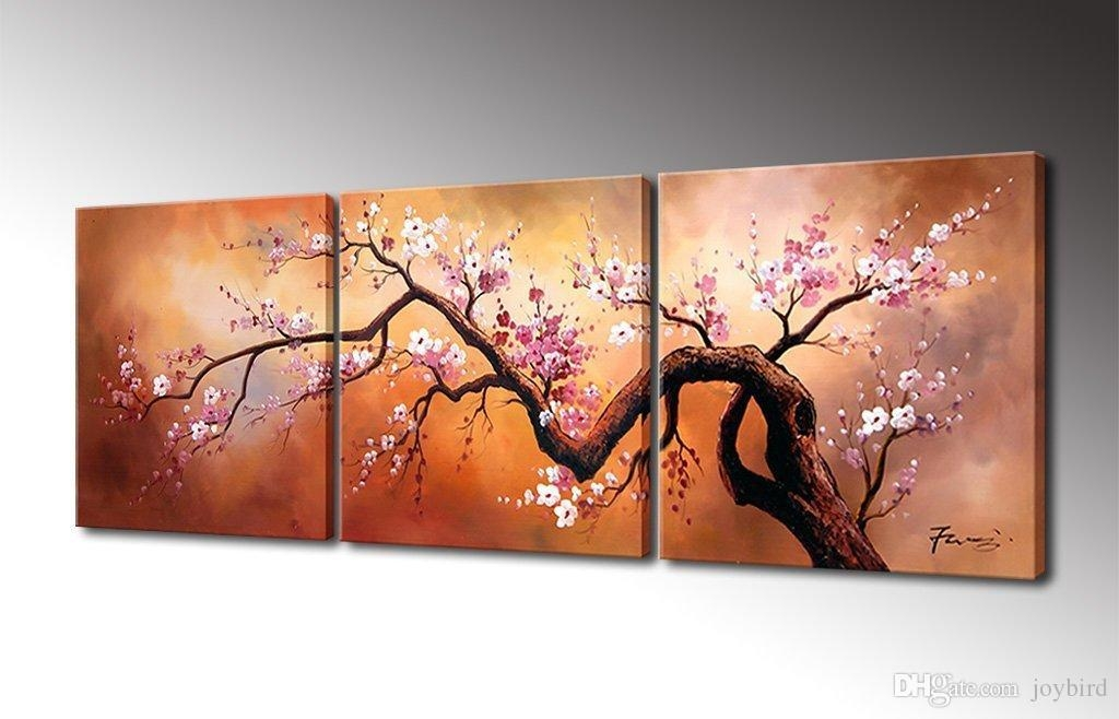Cherry Flower Painting Canvas Wall Art Decor Handmade Oil Painting With Regard To Flower Wall Art Canvas (Image 9 of 20)