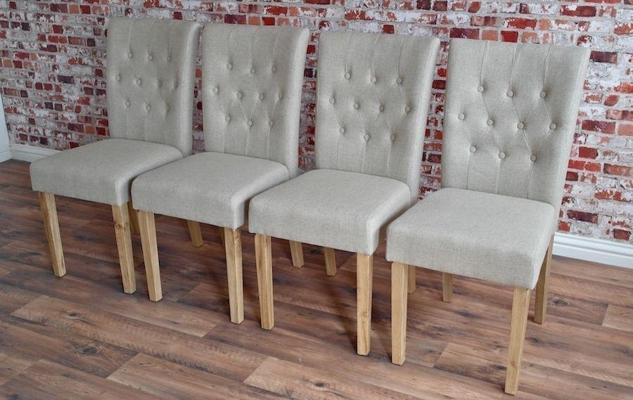 Chesterfield Style Upholstered Dining Chairs Set Button Back Oak With Regard To Latest Button Back Dining Chairs (Image 6 of 20)