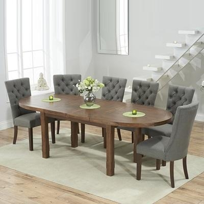 Chevron Dark Oak Oval Extending Dining Table With 6 Albany Grey For Most Popular Dining Tables With Grey Chairs (Image 8 of 20)