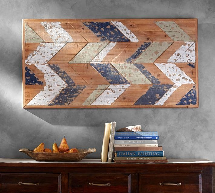 Chevron Wood Wall Art | Pottery Barn Pertaining To Italian Wood Wall Art (Image 11 of 20)