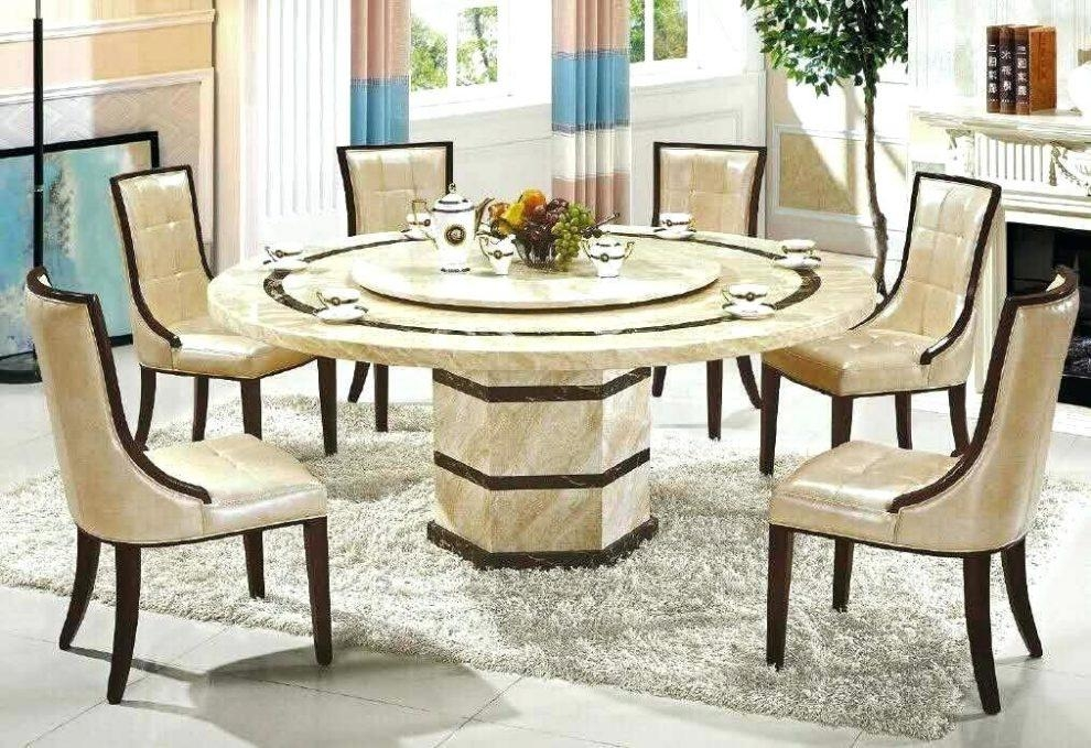 Chic Cream Marble Dining Table And 6 Contempo Chairs Cream Marble Inside 2017 Marble Effect Dining Tables And Chairs (Image 3 of 20)