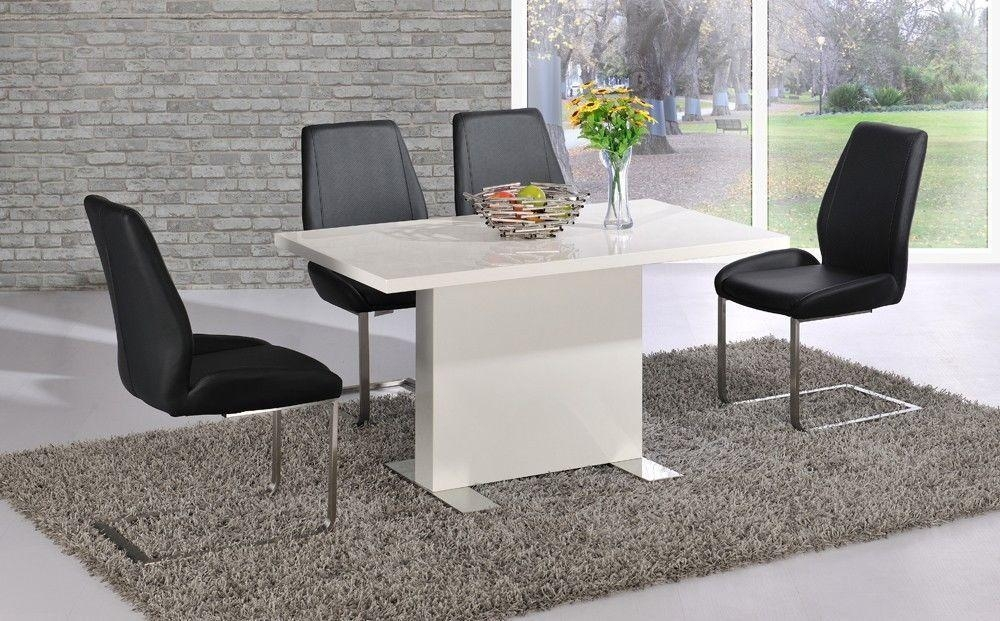 Chic Ideas White Gloss Dining Table | All Dining Room Regarding Newest Black High Gloss Dining Tables And Chairs (Image 6 of 20)