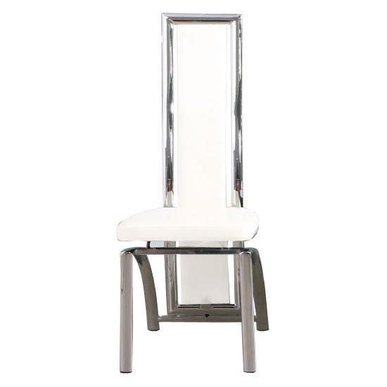 Chicago Faux Leather Dining Chair In White With Chrome Regarding Current Chrome Dining Chairs (Image 4 of 20)
