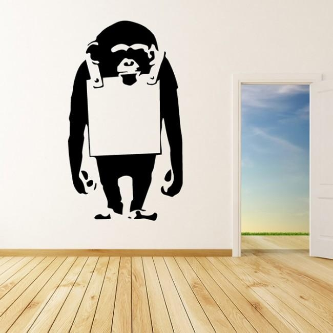 Chimp Board Banksy Graffiti Street Art Wall Stickers Home Decor For Street Wall Art Decals (Image 9 of 20)