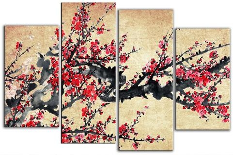 Chinese Blossom Tree Red On Natural Mottled Background Split Panel Regarding Split Wall Art (Image 6 of 20)