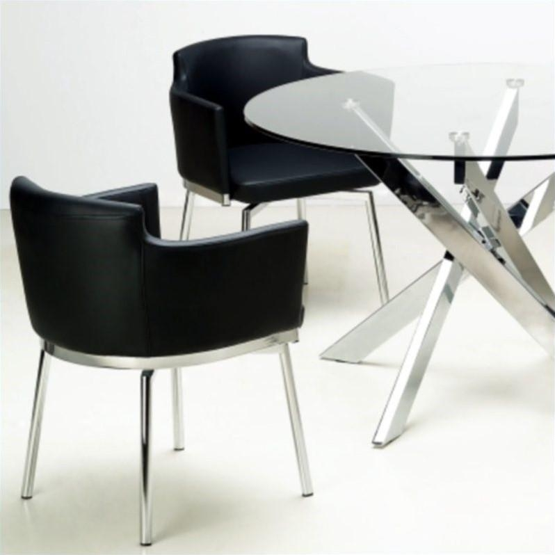 Chintaly Dusty Club Style Swivel Arm Dining Chair In Black And Pertaining To Most Current Chrome Dining Chairs (View 7 of 20)