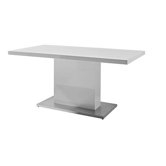 Chique Dining Table In White High Gloss With Shiny Metal Within Recent Shiny White Dining Tables (Image 5 of 20)