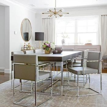 Chrome And Wood Dining Table – Transitional – Dining Room Throughout Current Chrome Dining Room Sets (View 12 of 20)