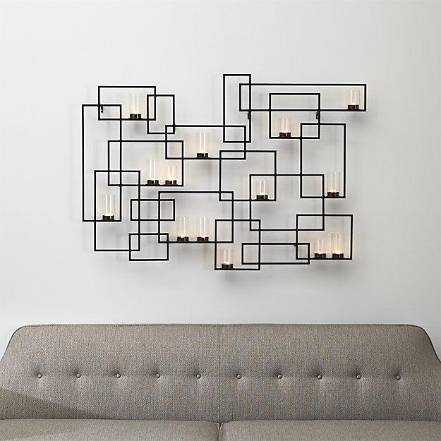 Circuit Metal Wall Candle Holder | Crate And Barrel Within Metal Wall Art With Candles (View 5 of 20)