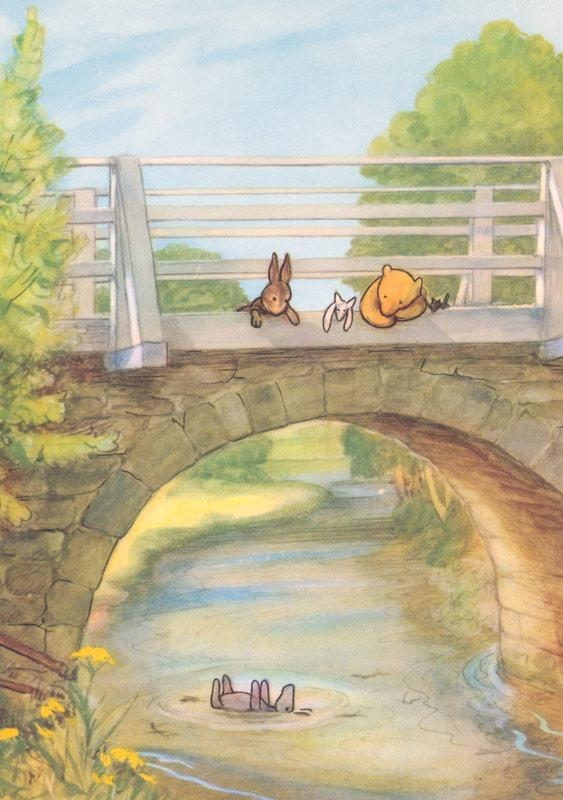 Classic Pooh Looking Over Bridge, Vintage Print In Classic Pooh Art (Image 10 of 20)
